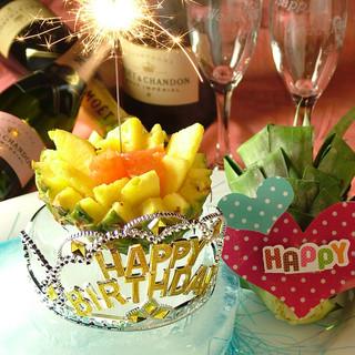 氷の器に花火の演出が鮮やかなデザートプレートプレゼント!!