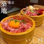 yakiuoishikawa - 手前:中落ちいくら丼 奥:5種海鮮丼