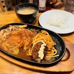アレックス - Bランチ チキン生姜焼 カニコロッケ ライス、みそ汁付(1,080円)