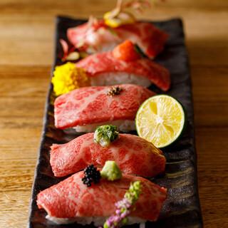 ロングユッケ寿司含む高級肉寿司&天麩羅食べ放題堪能コース