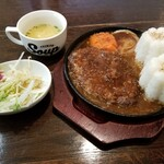 Rest Area JiZi - 料理写真:レギュラーバーグ200gセット(ライス追加)(税別1,030+250+100円)