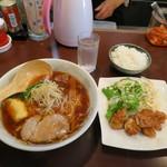 らー麺 はな - 日替りランチ 「若鶏からあげ・しょうゆラーメン・ライス」  650円