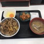 吉野家 - 牛丼並盛とキムチと生卵とアサリ汁