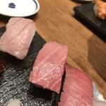 鮨・酒・肴 杉玉 - 大トロ炙り、大トロ、中トロ