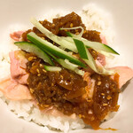 塩生姜らー麺専門店 MANNISH - 料理写真:よだれ鶏ご飯 ¥300 美味しい鶏チャーシューに特性ダレを掛けて。