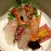 一心 - 料理写真:お造り(真鯛、カンパチ、車海老、大トロ雲丹のせ)