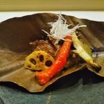 Ginzayoshizawa - 焼き物 秋野菜と牛タンの金山寺味噌和え