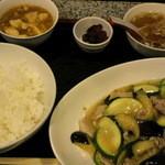 14033957 - 茄子ズッキーニ豚肉塩ニンニク炒め定食