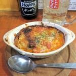 浦野屋 やきとん てるてる - サバのチーズ焼き(ロメスコソース風)¥400