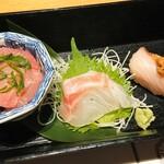 東京コトブキ - 刺身三種盛り マグロ、タイ、鰤
