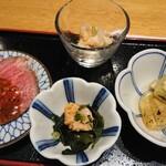 東京コトブキ - 前菜 ローストビーフ、鶏ササミ梅水晶、あん肝ポン酢、焼きナス