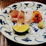 炭焼 芹生 - お造りはカマスの焼き霜、白甘鯛、北海道のバフンウニ