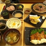 14045021 - チキン南蛮定食と五穀そばと天ぷら定食