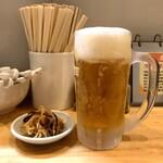 ラーメン ソレナリ - やみつき辛もやし + 生ビール