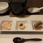 Nozomi - ・オードブル 3種盛              鶏のミートローフ/生湯葉 削りかまぼこ/タコのカラシあえ