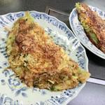 福来 - 料理写真:えび玉(半分醤油で半分ソースにしてもらいました)