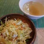 140488067 - ランチメニューのサラダとスープ