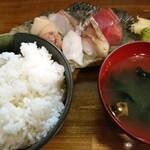 津軽海峡を渡って来た男 あきら - 8種の刺身膳(880円)