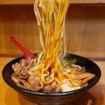肉玉そば おとど - 麺リフト (平打ち麺)
