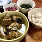 140532675 - 『海つぼ貝&青のり、ほっきサラダ、梅くらげ』様でビアビア♪