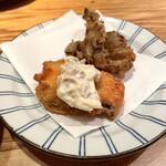 茶茶 このか - 秋鮭のフライ、舞茸の天ぷら