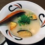 蜃氣楼 - 揚げ平目と茄子百合根の白味噌煮