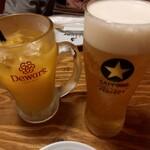 天ぷら酒場KITSUNE - 生ビール、オレンジジュース