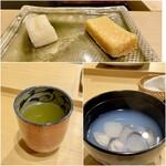 鮨かねみつ - 玉子焼きとたくあん シジミ汁は鳥取県産 緑茶