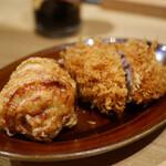 とんかつ けい太 - 鶏モモ肉の唐揚げ、メンチカツ