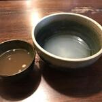 重乃井 - 余ったつけ汁を、釜揚げの残り湯を使って・・・