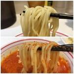 蒙古タンメン中本 - 【再訪】ヒヤミの汁に麺を入れると唐辛子がからみつきます