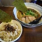 麺場ながれぼし - 開店2周年記念限定麺『醤油~コトかも+新作!!キノコごはん(\900+200)』