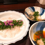 Toritanaka - 小柴産天然とら河豚の刺身と皮ポン酢