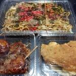 パンダ - 料理写真:中華風焼きそばの肉入り(320円税込)、たこ焼き4個入り(150円税込)、ネギ焼き(100円税込)