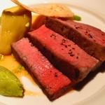 リシュール 苦楽園 - 宮崎尾崎牛のシンタマの低温ロ―スト 山葵とにんにく風味の餡