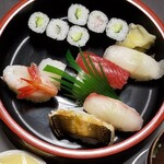 吉兆寿司 - 料理写真:中寿司を出前で頂きました!友人宅で…私の奢りだ!