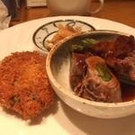洋食 おかもと - 牛肉アスパラロール&かぼちゃコロッケ