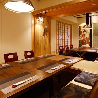 完全個室完備のゆったりと寛げる和空間。接待や記念日にぴったり