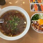 彩蓮 - ラージャン麺(麺ハーフ)と低温チャーシュー丼
