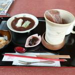 さくら茶屋 - さくらぜんざいモーニング700円(アイス紅茶、白玉)