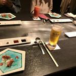 鉄板・お好み焼き 蓮 - 私はオリオンビールで乾杯します