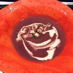 鉄板・お好み焼き 蓮 - 紅芋のスープ