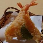 味処・民宿 まつや - 日本海定食のエビの天ぷら