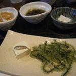 菜酒家FU-KU - 前菜5種盛り(もずく/スクガラス豆腐/海ぶどう/ミミガー/ジーマミ豆富)