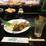 えんどう寿司 - 付出し & 冷酒(惣花 純米吟醸)