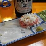 豚魚家 - 料理写真:2012.7 ネギトロとアカイカ刺し