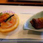 天婦羅ほり川 - 柿なます  和風ローストビーフ