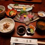 魚処 豆狸 - 料理写真:豆狸定食と海鮮ユッケ丼プチ