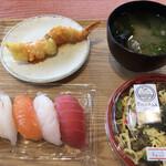 サカナテラス - にぎり寿司、ばら寿司、あさりの味噌汁、海老天チリソース