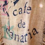 カフェドカナリア - コーヒー麻袋の暖簾